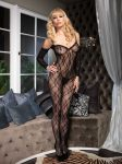 Lace Bodystocking w Sleeves Black S-L