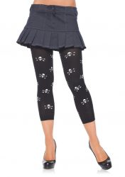 Opaque Footless Tights w Skull Prints